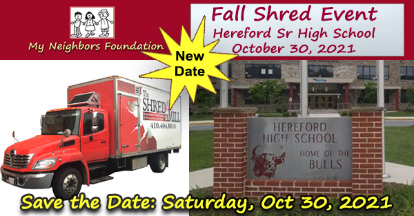 Fall Shred Day - Oct 30, 2021 Hereford HS Parking Lot